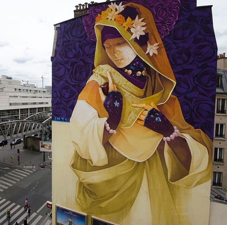 """""""La Madre Secular 2"""" Parigi: nuovo pezzo dello street artist sudamericano Inti per il StreetArt13 Project. """"La Madre Secular 2 è una rappresentazione laica della Madonna, dove il …"""