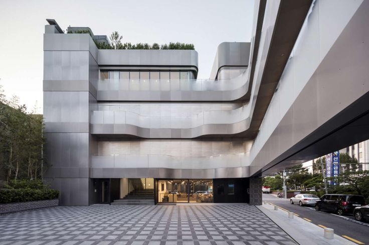 FIRM: JOHO Architecture; PROJECT: Platform-L Contemporary Art Center; LOCATION: Gangnam district in Seoul, South Korea. Art museum that embraced difficult site constraints to form 2 independent volumes of mass and connecting central courtyard that made an efficient use of space.