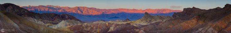 #deathvalley Zabriskie Point Sunrise Panorama - This image is made up of 21 overlapping photographs captured with a 70-200 mm lens, just as the first light was painting the distance ridge this past Saturday morning.