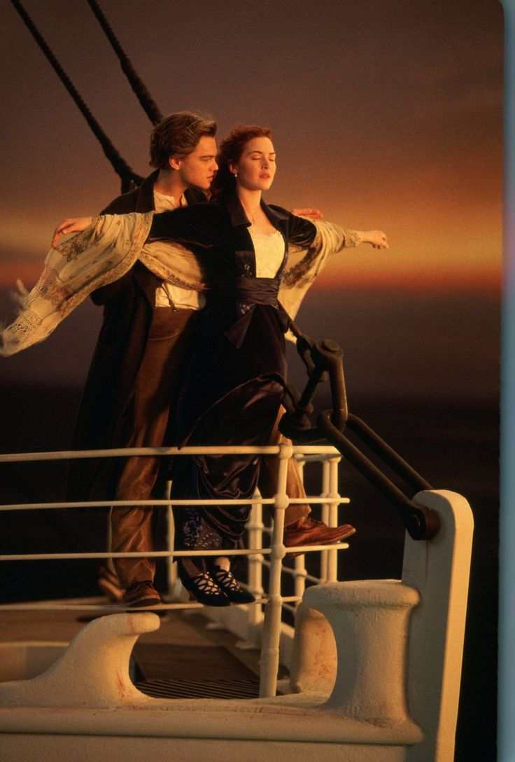 "Kate Winslet and Leonardo DiCaprio in the classic ""I'm king of the world"" pose from the movie Titanic"