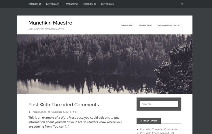 Munchkin Maestro WordPress theme. A clean and stylish blogging theme. More info here: http://curatable.net/20-free-wordpress-themes-i-would-actually-use-to-start-a-new-blog-in-2016/