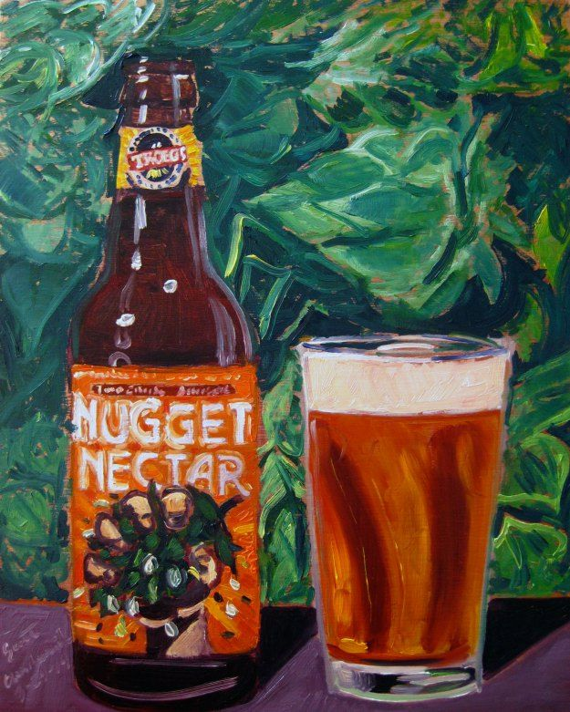 "Beer Painting of Nugget Nectar by Tröegs Brewing Co. Year of Beer 03.24. Oil on panel, 8""x10""."