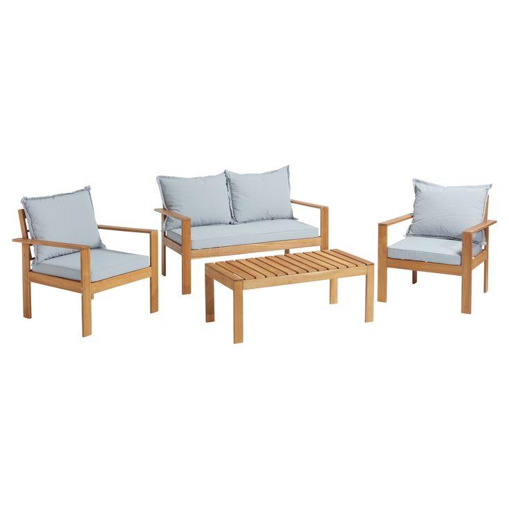 VAN 295,- VOOR 195,- Complete loungeset van hardhout acacia bestaande uit een bijzettafel, 2-zits bank en 2 stoelen.  #loungeset #tuin #terras #kwantum #nuofnooit #acacia