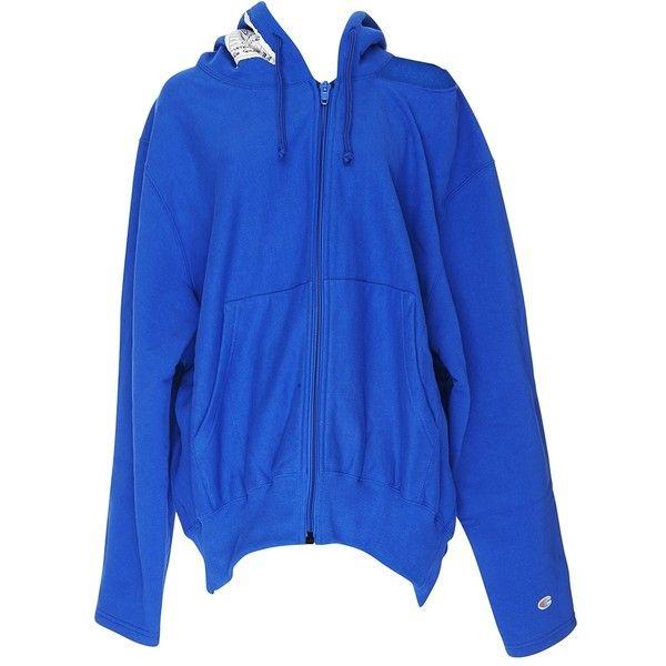 Vetements Champion Zip Up Sweatshirt (21.063.550 VND) ❤ liked on Polyvore featuring tops, hoodies, sweatshirts, clothing /, kirna zabete, zip up hoodies, slouchy sweatshirt, cotton hoodies, cotton hoodie and blue zip up hoodie