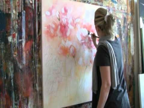 Floral Painting with acrylic colors Demo , Blumen malen in Acryl - YouTube