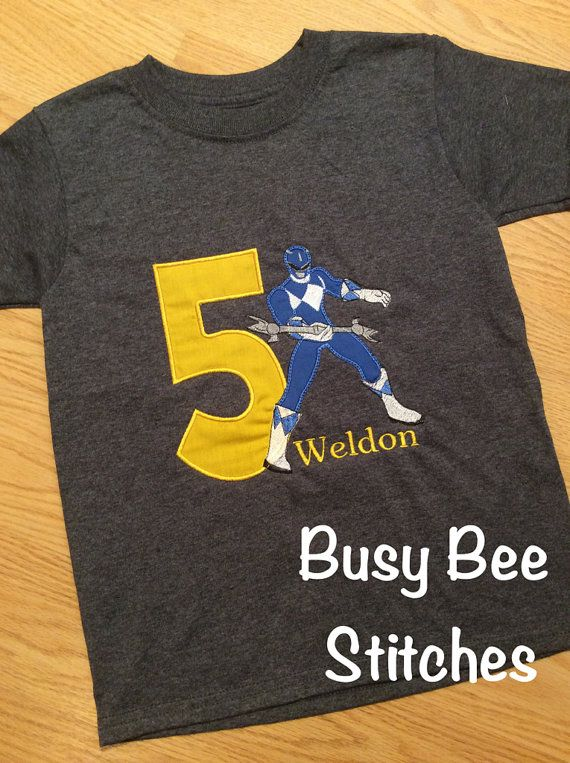 This is the perfect shirt for your little Power Rangers birthday celebration! It can be customized in any fabric and thread colors and birthday