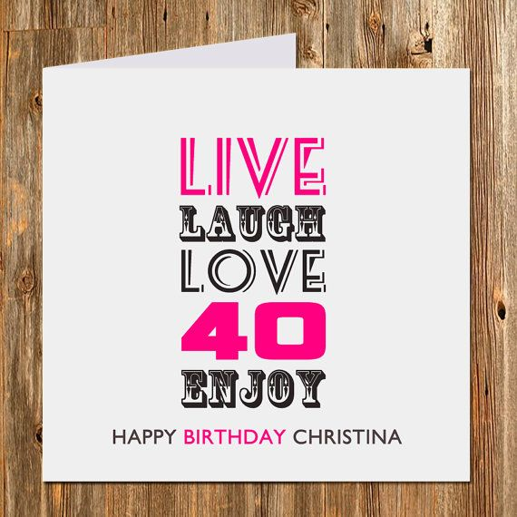 Personalized 40th birthday card 40th birthday by BlingPrints