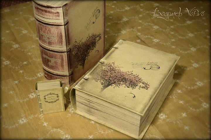 Old / antique books favor boxes and big storage book boxes - Vintage wedding stationery - Beyond Verve