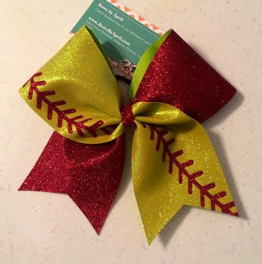 Bows by April - Full Glitter Softball Fan Cheer Bow, $17.00 (http://www.bowsbyapril.com/full-glitter-softball-fan-cheer-bow/)