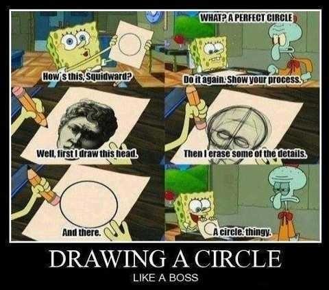 drawing a circle like a boss spongebob squarepants