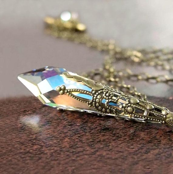 Clear Crystal Necklace, Antique Gold Brass, Swarovski Crystal Pendant Necklace, Aurora Borealis Vintage Victorian Prism, April Birthstone