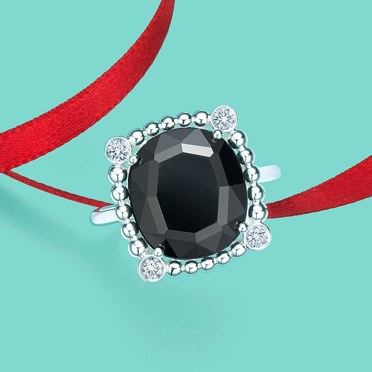 Ziegfeld Collection Black Spinel Ring Happy Holidays
