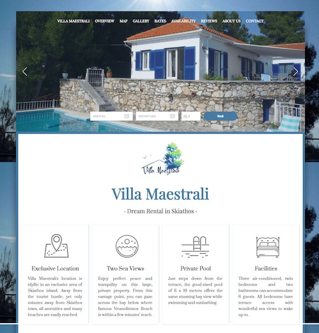 Villa Maestrali - This Lodgify customers' logo looks to have been drawn directly from the property, and reinforces the promise of lush green vegetation waiting for its guests. #vacationrentalwebsites #vacationrentals #webdesign #website