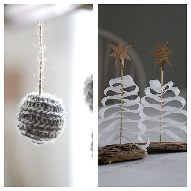 DIY for christmas. I'm not a knitter for the ornament, but OMG how simple are these trees?