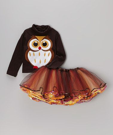 Black Owl Turtleneck & Orange Tutu - Toddler & Girls by Beary Basics