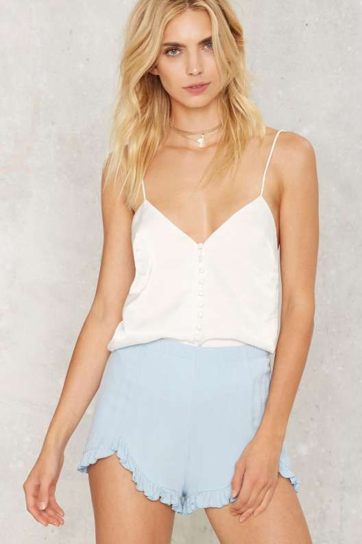 Once In a Blue Moon Ruffle Shorts