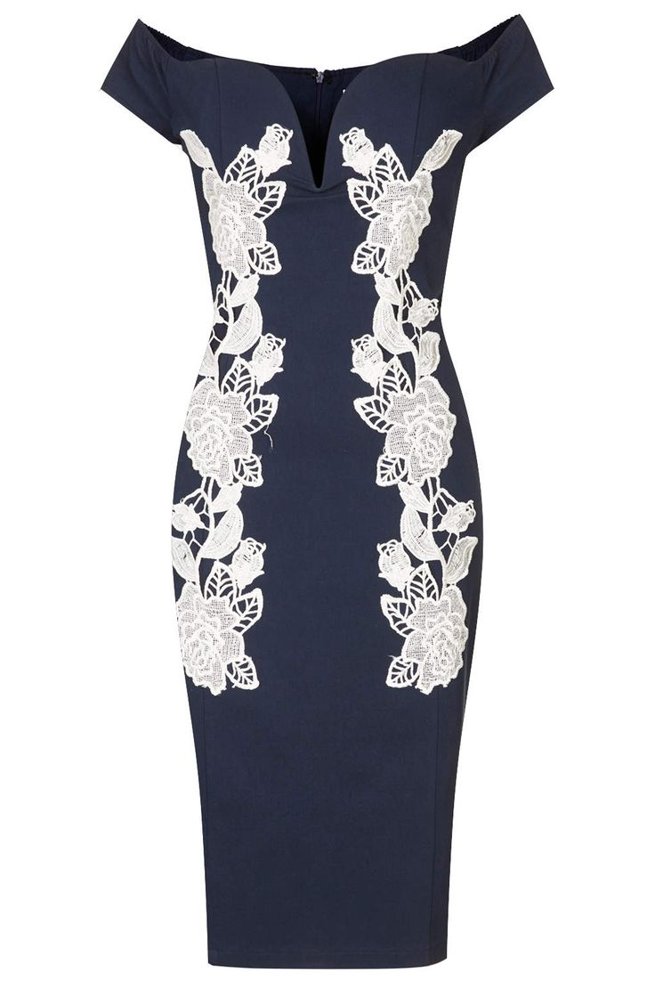 **Navy Bodycon Dress with Lace by Rare - Clothing Brands - Clothing - Topshop