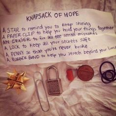Little ways to show you care.  Knapsack of hope