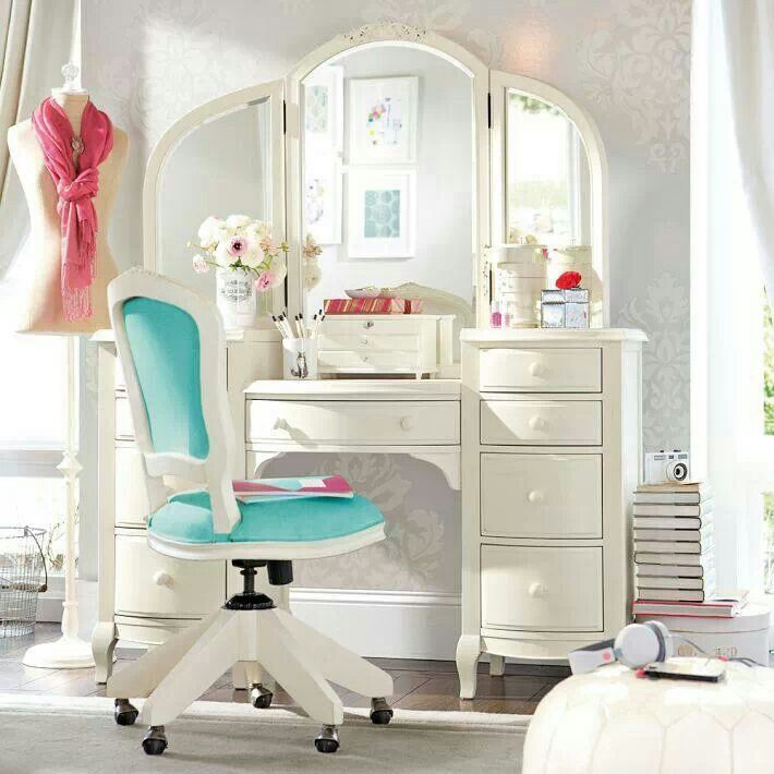Pottery barn teen preteen room pinterest vintage style vanities and pottery - Bedroom vanity ...