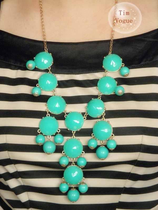 Turquoise Bubble Necklace Bib Statement Necklace --Chunky Necklace-Huge- Large- Big-- Jewelry. $10.99, via Etsy.