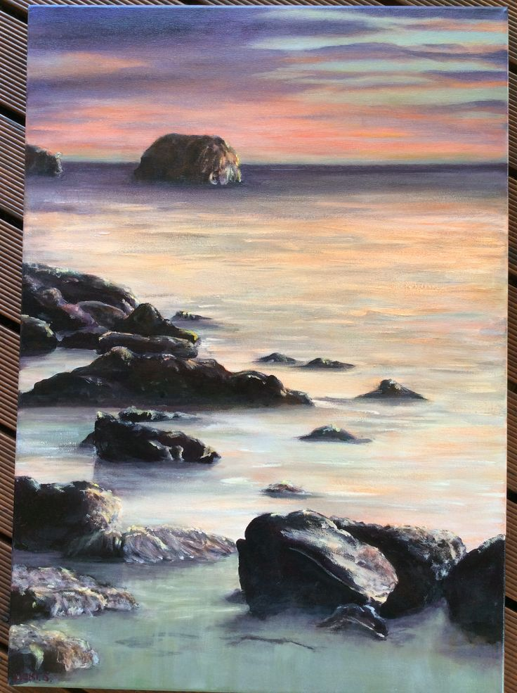 Red Gate Beach Sunset.Painting