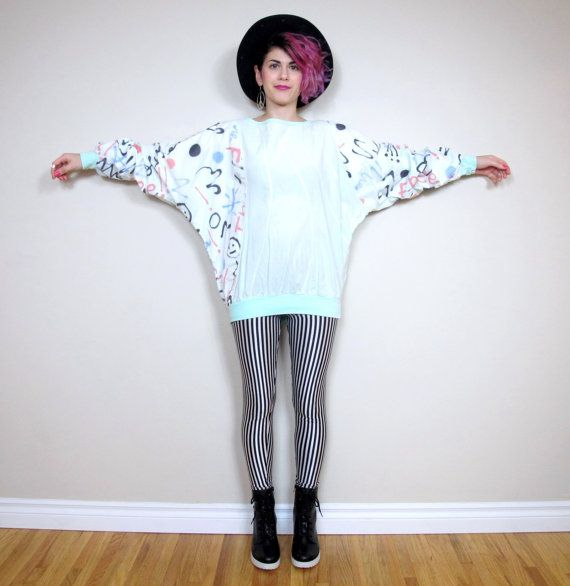 80s Graffiti Jumper Abstract Blue Batwing Top by honeymoonmuse, $36.00