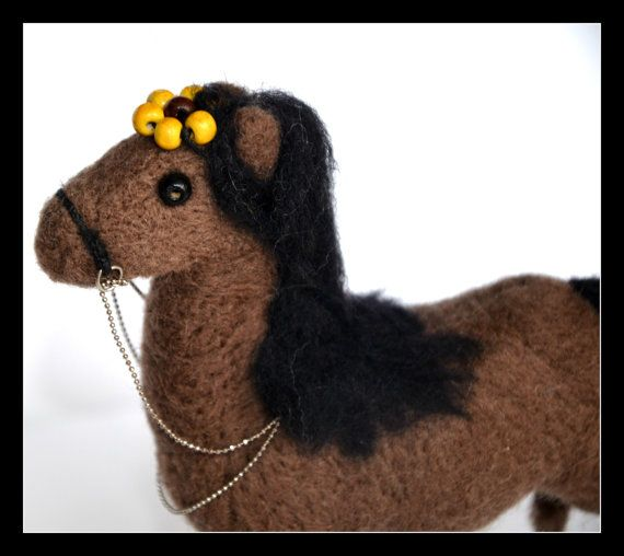 Horse Sculpture 12 x 14 cm   Needlefelted Horse  by KubuHandmade