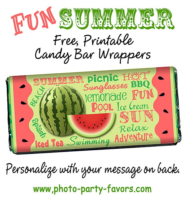 Easy Summer Craft - Print and personalize these free candy bar wrapper and wrap around a 1.5 oz Hershey bar for a DIY sweet treat for a summer party, family reunion or end of year teacher gift!  More printables and other party stuff at http://www.photo-party-favors.com/
