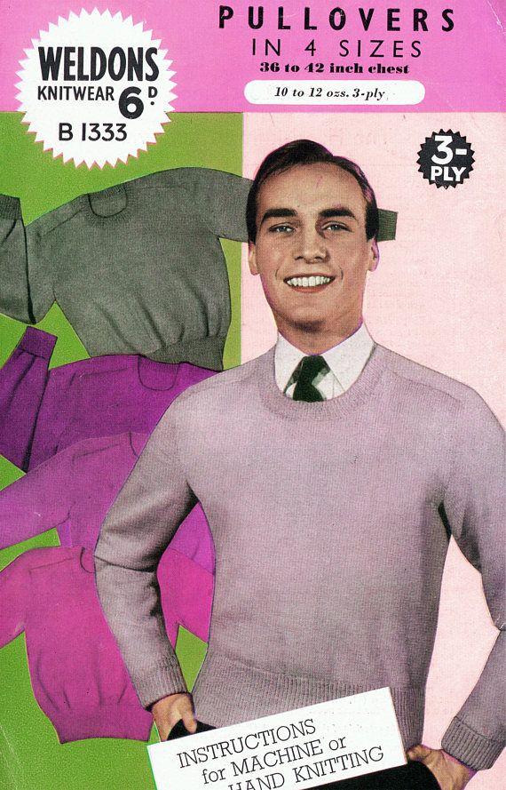 PDF Vintage 1940s Weldons B1333 Knitting Pattern Mens EASY