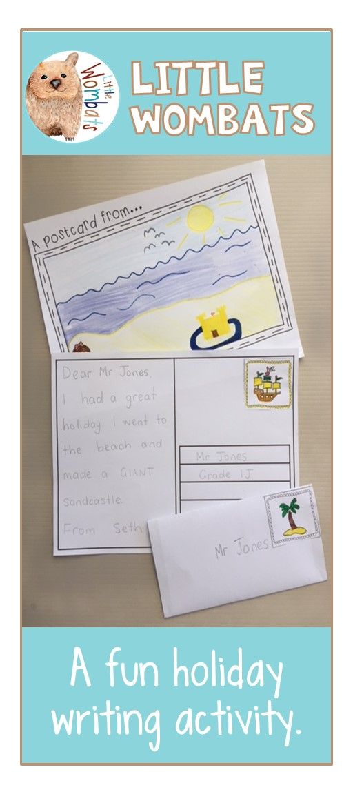 A fun writing activity for back to school. Students write a postcard to their teacher and 'send' it to them. 'Stamps' and envelope proforma included.