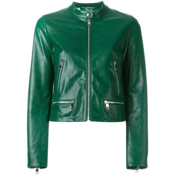 Dolce & Gabbana cropped leather jacket ($1,360) ❤ liked on Polyvore featuring outerwear, jackets, coats, overwear, green, collar jacket, 100 leather jacket, real leather jackets, zip front jacket and dolce gabbana jacket
