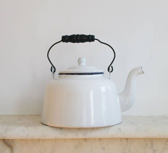 Vintage White Enamel Kettle Tea Pot Coffee Pot Large Old Enamel Teapot Tea Pots Kettle