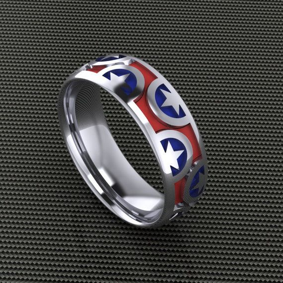 American Patriot Band Sterling Silver Red and Blue  America Band Enamel Jewelry Team Star Band Team America Ring
