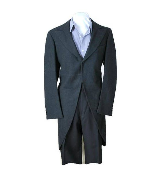 Vintage Grey Wool Morning Coat Formal 1930's Tailcoat