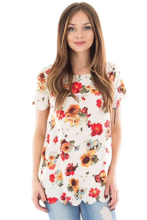 Lime Lush Boutique - White Floral Print Short Sleeved Scalloped Top, $17.95…