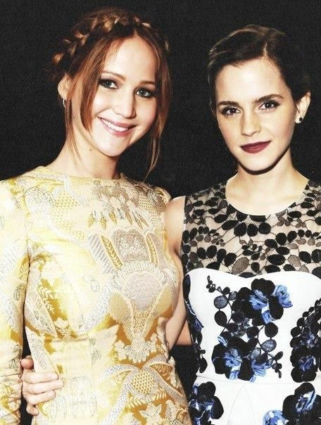 Jennifer Lawrence and Emma Watson. Two awesome womanfor little girls to look up to. They should TOTALLY make a movie together. :)