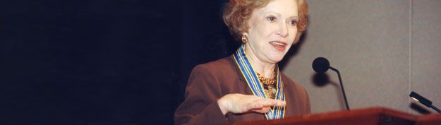 """The Rosalynn Carter Fellowships For Mental Health Journalism    """"Informed journalists can have a significant impact on public understanding of mental health issues as they shape debate and trends with the words and pictures they convey. They influence their peers and stimulate discussion among the general public, and an informed public can reduce stigma and discrimination.""""  ~Former First Lady Rosalynn Carter"""