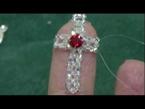 Beading4perfectionist: 2mm swarovski + miyuki cross. Earings or phone dangle tutorial - YouTube