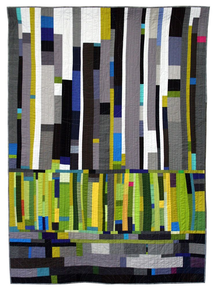 Spring Rain A study in improvisational piecing and colour, and incorporating hand-quilting, inspired by a stand of glowing trees on a stormy day. Completed:2015