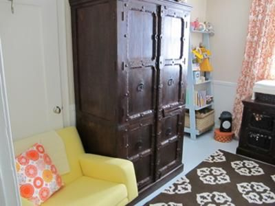 Eclectic Orange Twin Nursery Twins Nursery in Orange Brown and Blue- love the armoire