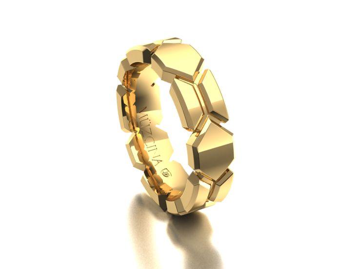 MÜZCINA Collection by JJBückar - BX26-H-100-X-XX-XX-18Y-PX, High Polished Finish, 18K Yellow Gold, Men's, Wedding Rings, Wedding Bands, Designer, Luxury, Deluxe, Unique, Modern, Pattern, Custom, Precision Machined