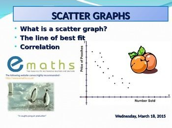 What is a Scatter Graph?What is a Line of Best Fit?What is a Positive Correlation?What is a Negative Correlation?What is a No Correlation?What other types of Correlations are there?Do you agree or disagree with statements relating to correlations? - Perfect for discussing in groupsPlot your own scatter graph or make up your own and challenge a friend in class ...