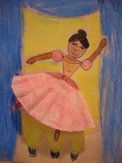 Coffee filters were cut in half, then folded in half to create dimension for the ballerinas skirt. We drew designs with sharpie then applied the chalk before they were glued on to the ballerina.