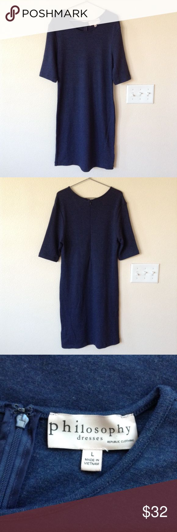 Philosophy Blue Dress This Philosophy dress is like new in a gorgeous blue color. The fabric has a nice stretch and weight to it, and it is very soft! Zips up in the back. Philosophy Dresses