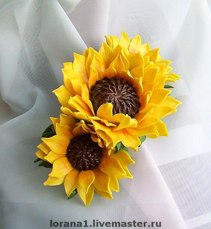 """Купить Заколка-автомат """"Подсолнухи"""" - полимерная глина, заколка с цветами, подсолнухи, цветы ручной работы"""