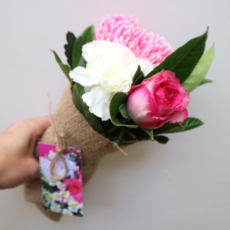 TUESDAY Poco Posy Pink Pom Pom disbuds, pink rose, Snow White carnations with a little gardenia • $30 single • $55 double • $85 triple • $55 Man Posy including delivery to Brisbane, Moreton Bay, Logan, Redlands & Ipswich. Be quick, limited stock! www.pocoposy.com.au or 0412 449 682.  💐 Single $30 pictured