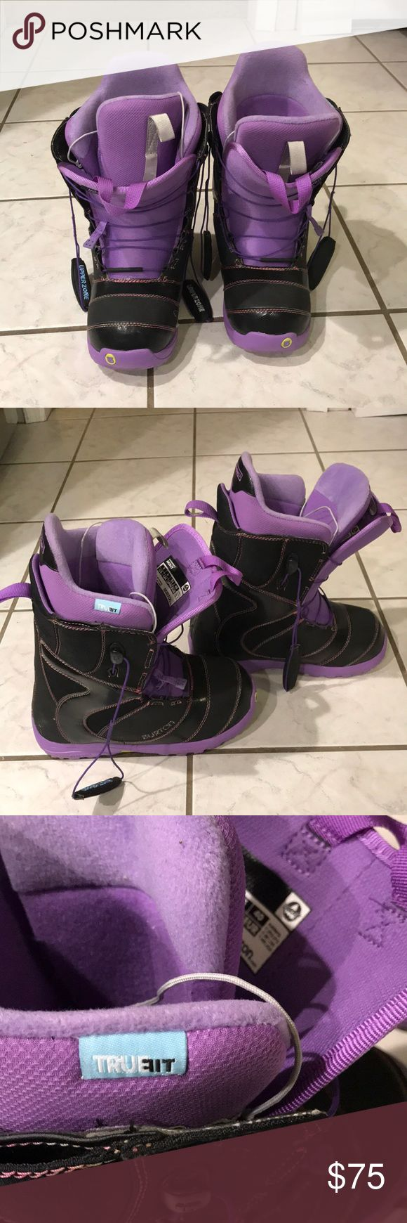 BURTON MINT Girls Snowboard Boots Size8 Only ridden a handful of times because they were too small for me, my loss is your gain on these. THEY RUN SMALL like all snowboard boots. insides never molded. quick laces are awesome on cold days when you don't feel like tying boots up!  ADD TO BUNDLE FOR PRIVATE OFFER. Burton Shoes Winter & Rain Boots