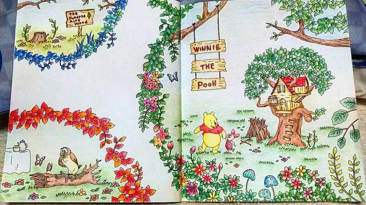 見開きは疲れる。わかる。  #大人の塗り絵 #旅するディズニー塗り絵 #塗り絵 #コロリアージュ #プーさん #ピグレット #colorbook #coloriage #colorful #coloring