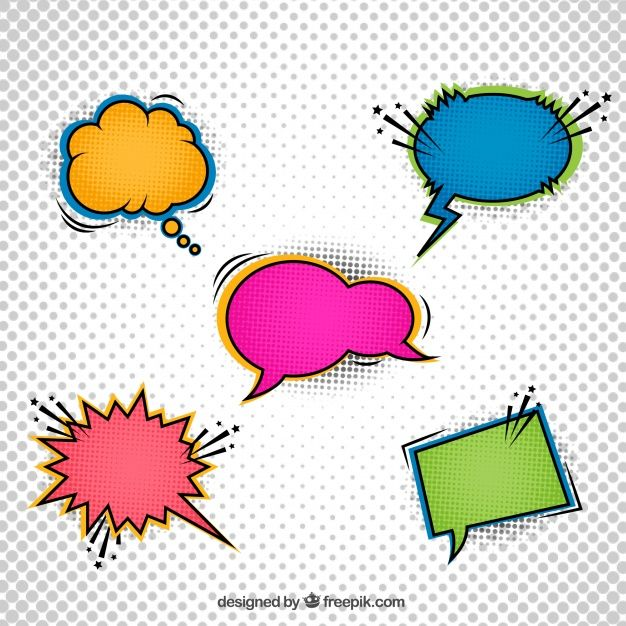 Five color dialog balloons for comic #Free #Vector  #Comic #Shapes #Color #Bubble #Communication #Balloons #Chat #Talk #Bubbles #Message #Speech #Conversation #Speak #Speechbubbles #Dialog #Feedback #Talkbubble #Five #Speechballoons