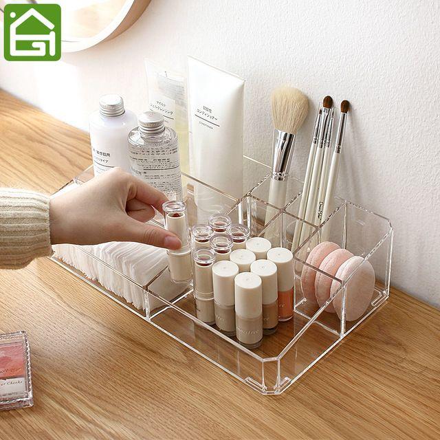 LARGE Acrylic Makeup Organizer Office Organizer Box Cosmetic Plastic Storage Box Desk & Bathroom Cosmetic Storage Case